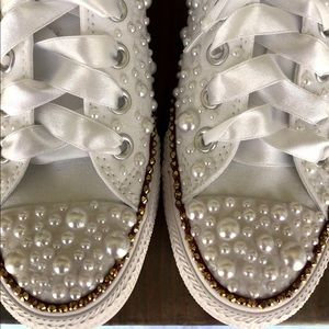 KIDS Bling Converse-White Lace edition